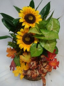 """Autumn Planter"" with SILK sunflowers, fall leaves  and fall bow. Nice keepsake."