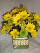 Daisy, Daisy! All yellow daisies, yellow lillies,  green button poms in a cute cube vase with chevron and raffia ribbon!
