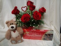 """BE SWEET BOUQUET"" Most popular!! 6 Red Roses   arranged in a vase, heart pic and a med. bear, box of chocolates...all for $68.00!!"