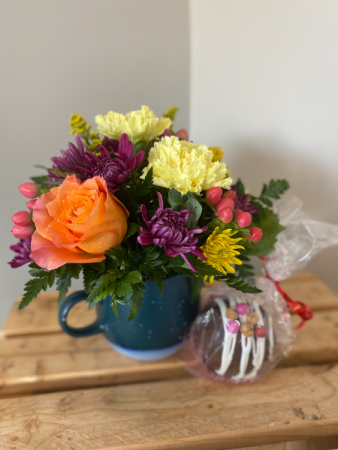Kindness Mug Mug flower arrangement and cocoa bomb