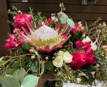 King protea & Peonies  Bridal Bouquet