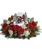 Kinkade Snowfall Dreams Christmas Centerpiece