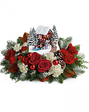 Kinkade Snowfall Dreams Christmas Centerpiece in Navarre, FL | Flowers By GiGi