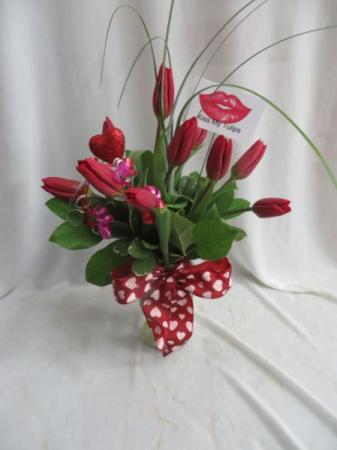 Kiss My Tulips Mason Jar Arrangement of Tulips