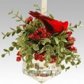 Kissing Krystal Mistletoe Cardinal Jewel Ornament Includes A Stand