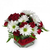 """RED  AND WHITE"" FLOWERS ARRANGED IN A VASE  CUTE RIBBON DETAIL!!"