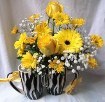 "Cute BLACK AND WHITE ""SAFARI"" LOOK MUG WITH SHADES OF ALL YELLOW FLOWERS!!"
