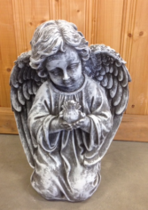 Kneeling Angel holding Dove concrete