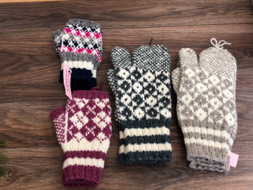 Knitted mittens for adults Fingerless and trigger finger