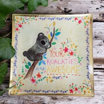 """Koalaties"" Trinket Tray Natural Life Glass Keepsake"
