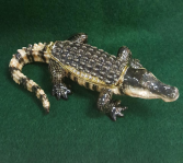 Kubla Craft Enameled Jeweled AlligatorTrinket Box