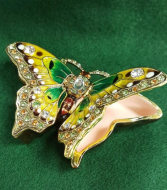 Kubla Craft Enameled Jeweled Butterfly Trinket Box