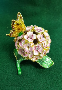 Kubla Craft Enameled Jeweled HydrangeaTrinket Box