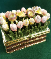 Kubla Craft Enameled Jeweled Tulip Trinket Box