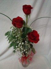"""True Love"" 3 Red Roses in a bud vase with filler  and tulle bow."