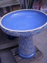 Lace Peony Birdbath- Blue Giftware