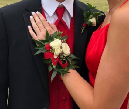 Lady in Red Corsage