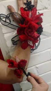 Lady In Red Wristlet and Boutonniere