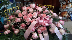 Lady Pink Pink Roses, Pink Carnations, Babies Breath in North Salem, IN | Garden Gate Gift & Flower Shop
