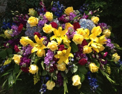 Yellow And Purple Casket Spray In Spring Tx Towne Flowers