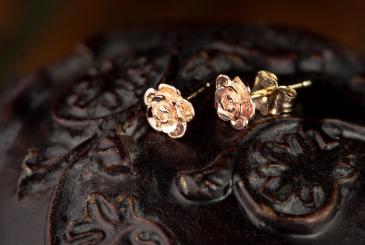 Rose Stud Earrings  Landstrom's Black Hills Gold Jewelry