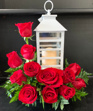 Lantern And Roses Floral Arrangement