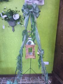 Lantern and Silk Succulent Standing Spray Sympathy