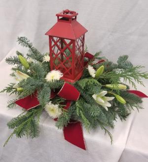 Lantern Centerpiece Fresh arrangement in Bolivar, MO | The Flower Patch & More