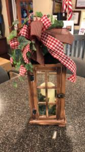 Lantern  Lantern with ribbon and ivy