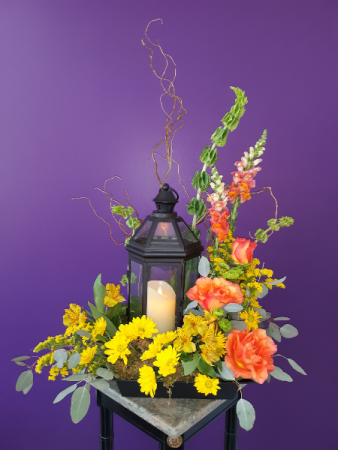 Lantern of Love mixed table arrangement with Lantern and LED candle
