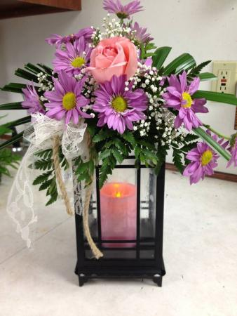 Glowing light Lantern with auto candle & Fresh flowers