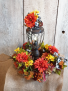 Lantern with fall wreath permanent floral