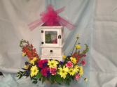 Lantern with memory drawer Keepsake lantern with fresh flowers
