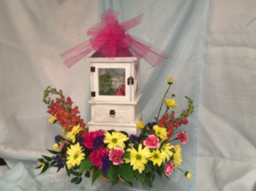 Lantern with memory drawer Keepsake lantern with fresh flowers