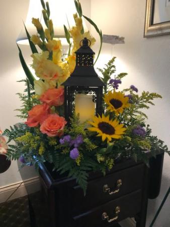 Lantern with Sunflowers Sympathy