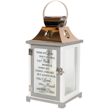 lantern with candle and verse Sympathy