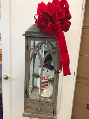 LANTERN W/LIGHTS, SNOWMAN AND BOW  in Hermitage, TN | IN FULL BLOOM FLOWERS + GIFTS