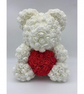 Large 14 inch White rose bear with box  White rose bear
