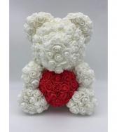 Large 14 inch White rose bear with box  White rose bear