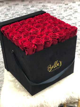LARGE BLACK SUADE BOX- 49 ROSES THAT LAST UP TO A YEAR