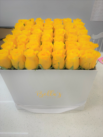 LARGE BOX- FRESH ROSES  YELLOW, PINK, LAVENDER, ORANGE