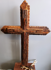 Large Brown pedestal Cross  Hand Artisan crafted