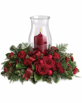 Large Burgundy Centerpiece    Hurricane globe and candle included