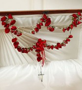 Large Casket Rosary With Red Spray Roses