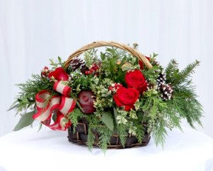 Large Christmas Basket Basket Arrangement in Fairfield, CT | Blossoms at Dailey's Flower Shop