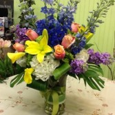 Large Colorful Spring Flower Bouquet Vase Arrangement