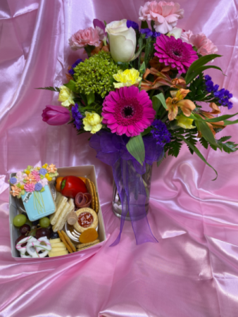 Large Daisies & Delicacies  Fresh Flowers & The Charcutie Girl box