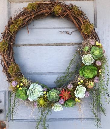 Large faux succulent & moss wreath
