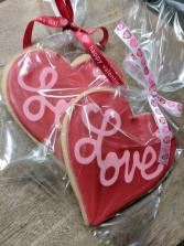 Large Hand Made Iced Heart Sugar Cookie