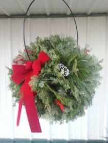 Large Hanging Evergreen Ball Fresh Evergreens